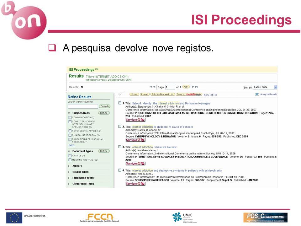 A pesquisa devolve nove registos. ISI Proceedings