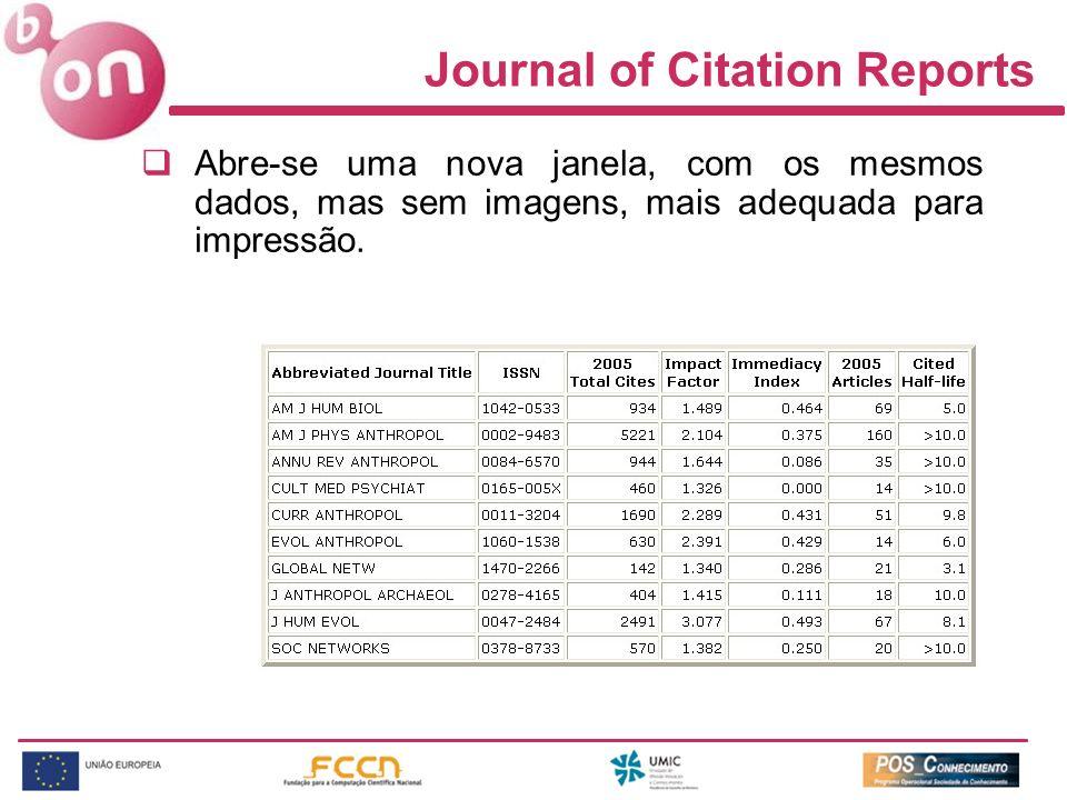 Journal of Citation Reports Abre-se uma nova janela, com os mesmos dados, mas sem imagens, mais adequada para impressão.