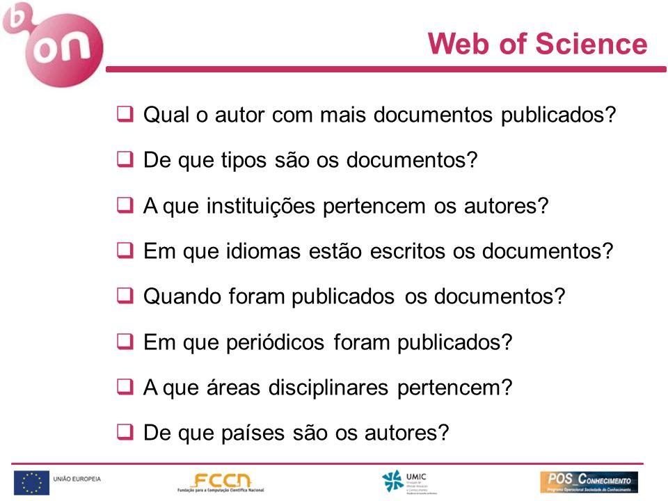 Web of Science Qual o autor com mais documentos publicados? De que tipos são os documentos? A que instituições pertencem os autores? Em que idiomas es