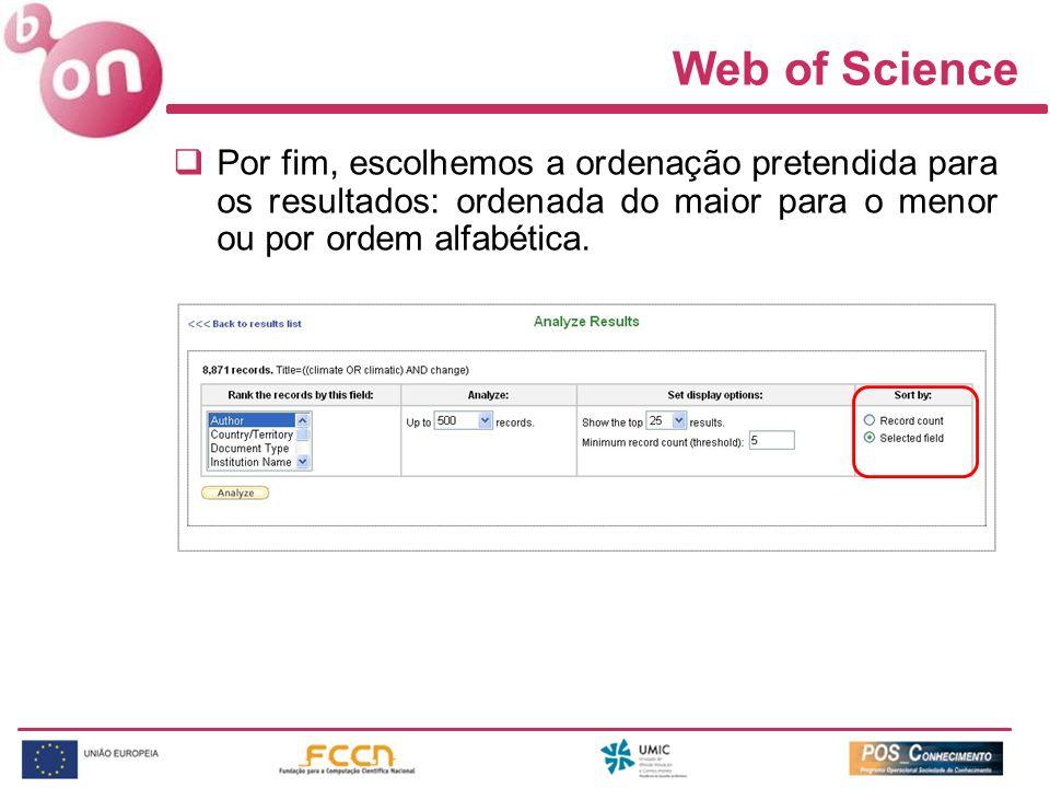 Web of Science Por fim, escolhemos a ordenação pretendida para os resultados: ordenada do maior para o menor ou por ordem alfabética.