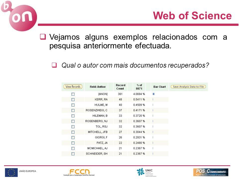 Web of Science Vejamos alguns exemplos relacionados com a pesquisa anteriormente efectuada. Qual o autor com mais documentos recuperados?