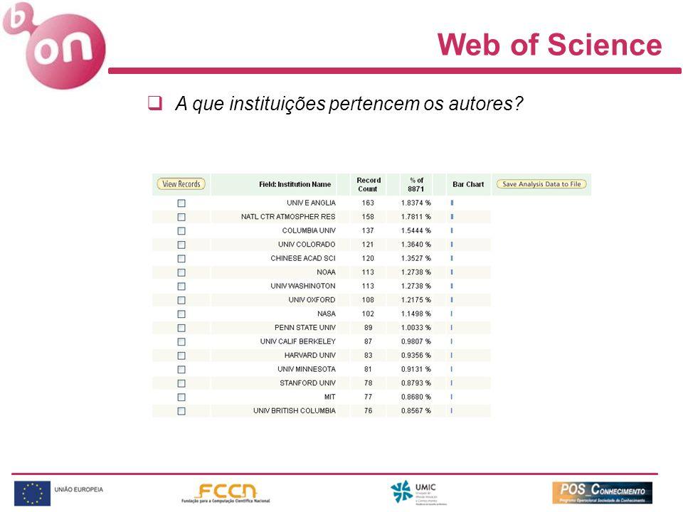 Web of Science A que instituições pertencem os autores?