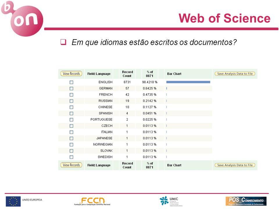 Web of Science Em que idiomas estão escritos os documentos?