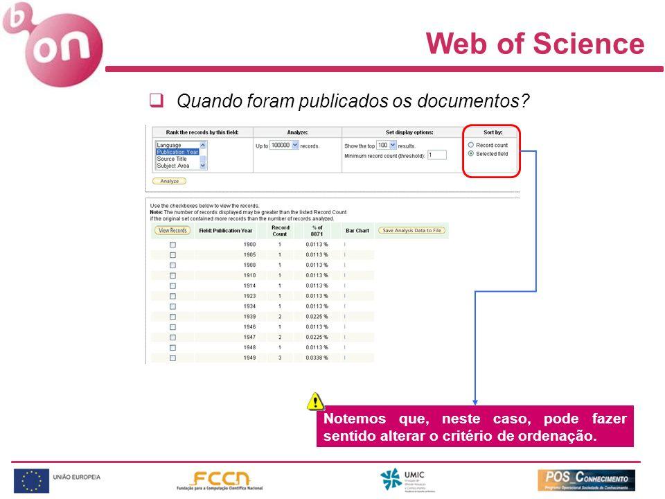 Web of Science Quando foram publicados os documentos? Notemos que, neste caso, pode fazer sentido alterar o critério de ordenação.