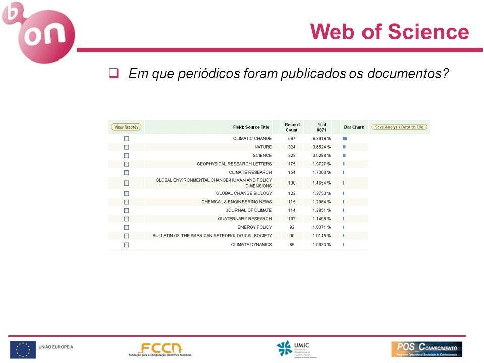 Web of Science Em que periódicos foram publicados os documentos?