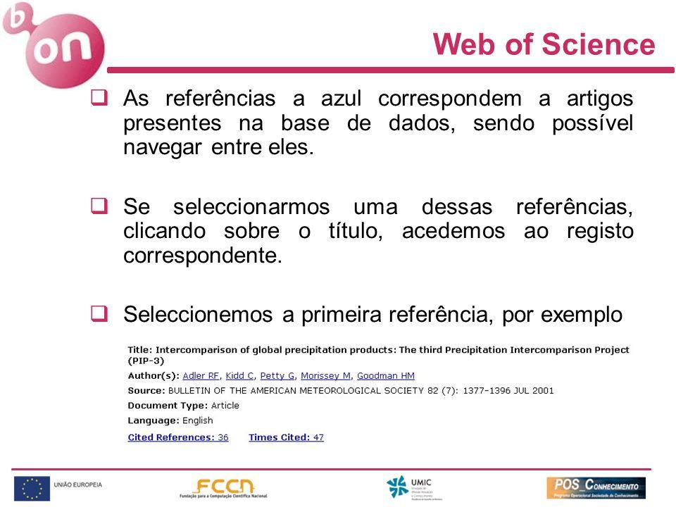 Web of Science As referências a azul correspondem a artigos presentes na base de dados, sendo possível navegar entre eles.