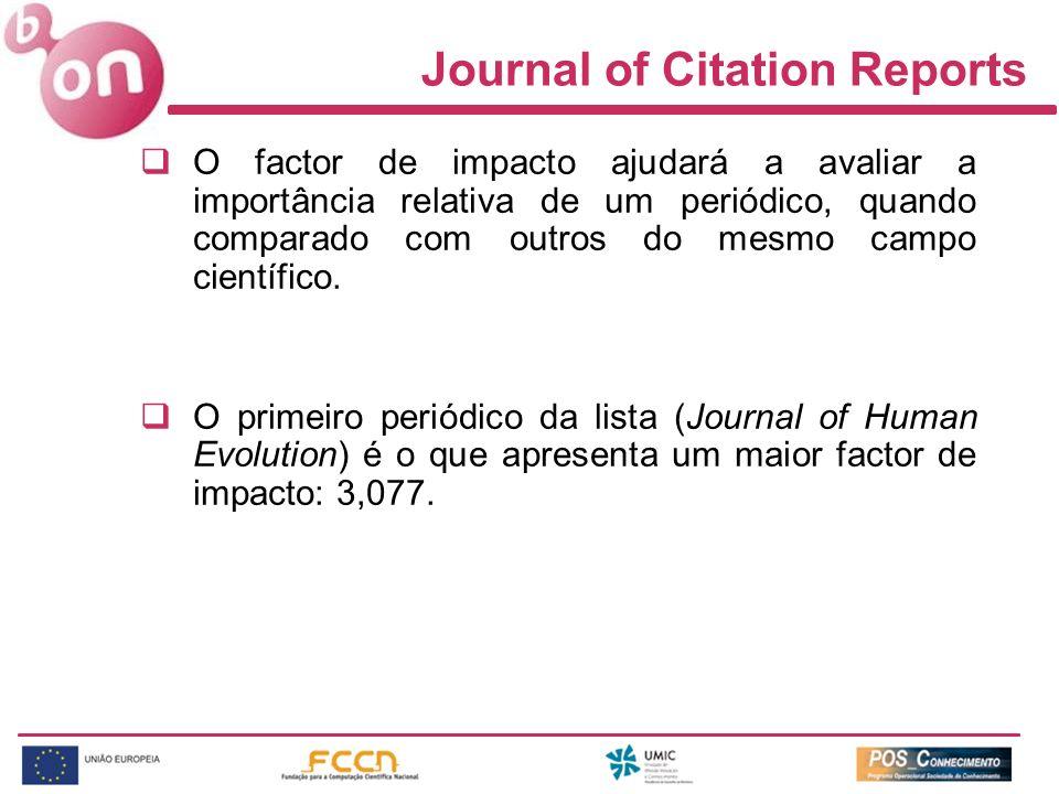 Journal of Citation Reports O factor de impacto ajudará a avaliar a importância relativa de um periódico, quando comparado com outros do mesmo campo científico.
