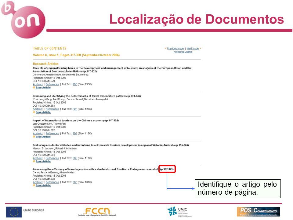 Localização de Documentos Identifique o artigo pelo número de página.