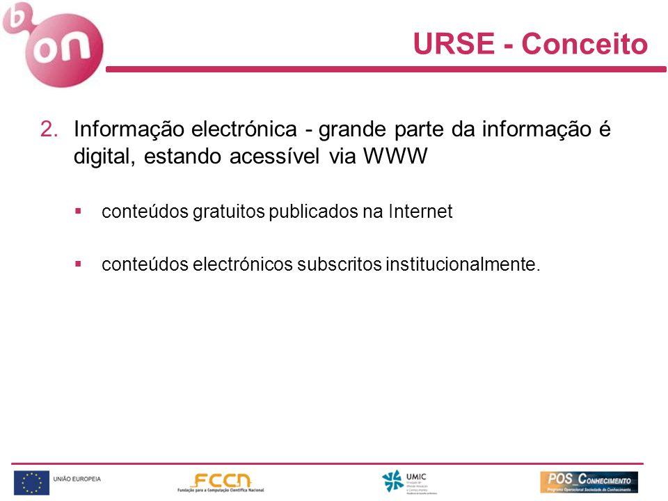URSE - Conceito 2.Informação electrónica - grande parte da informação é digital, estando acessível via WWW conteúdos gratuitos publicados na Internet conteúdos electrónicos subscritos institucionalmente.