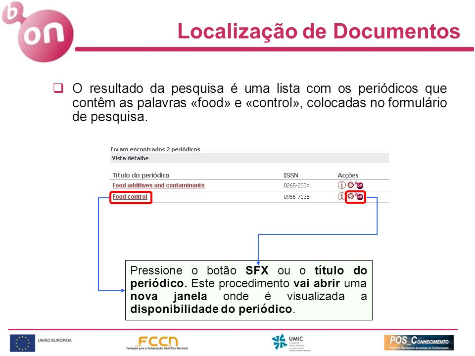 Localização de Documentos O resultado da pesquisa é uma lista com os periódicos que contêm as palavras «food» e «control», colocadas no formulário de pesquisa.