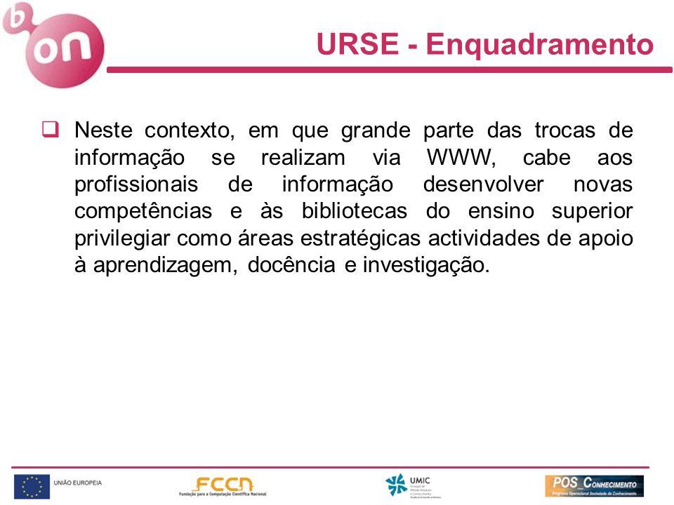 URSE - Enquadramento Neste contexto, em que grande parte das trocas de informação se realizam via WWW, cabe aos profissionais de informação desenvolve