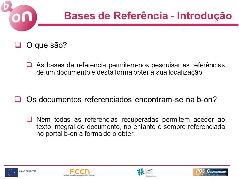 Bases de Referência - Introdução O que são.