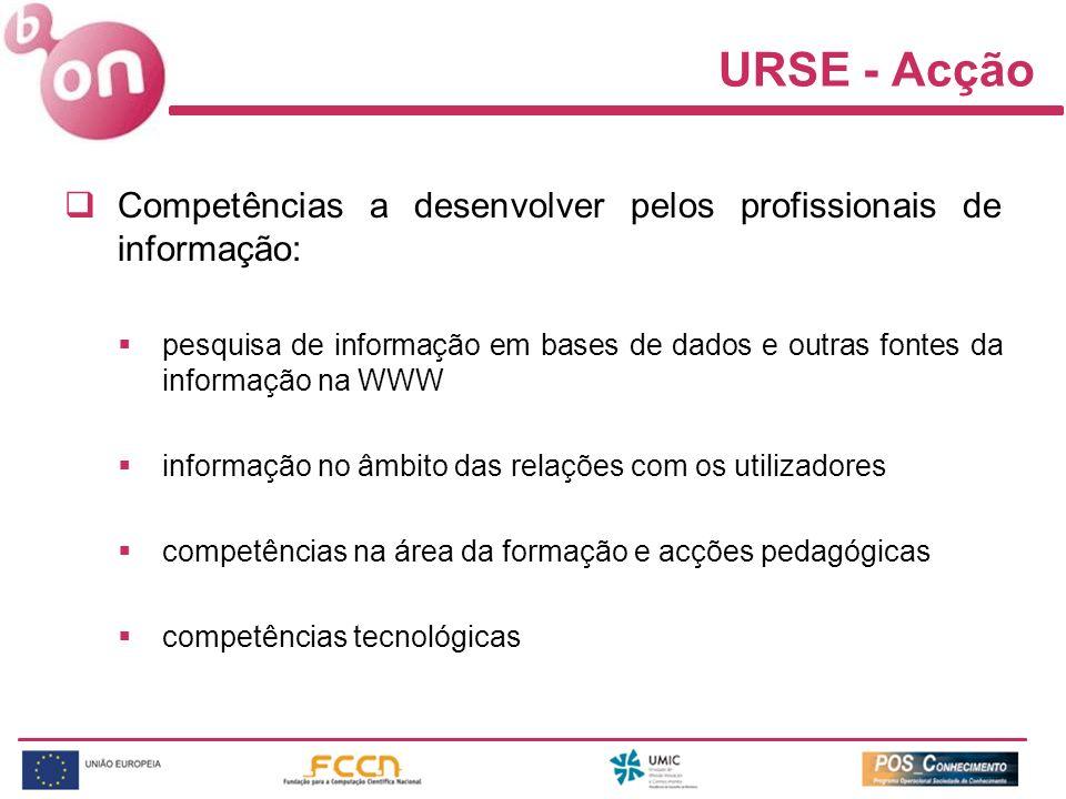 URSE - Acção Competências a desenvolver pelos profissionais de informação: pesquisa de informação em bases de dados e outras fontes da informação na WWW informação no âmbito das relações com os utilizadores competências na área da formação e acções pedagógicas competências tecnológicas