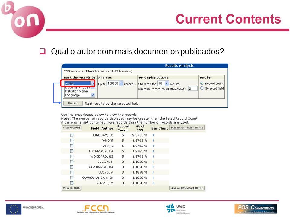 Current Contents Qual o autor com mais documentos publicados?