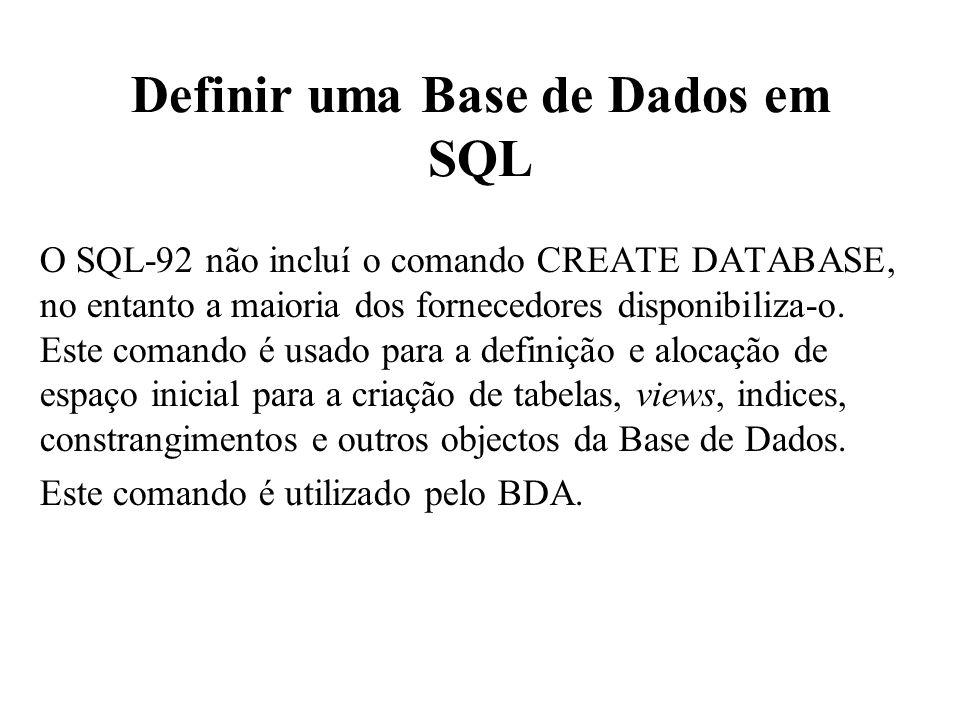 Definir uma Base de Dados em SQL O SQL-92 não incluí o comando CREATE DATABASE, no entanto a maioria dos fornecedores disponibiliza-o. Este comando é