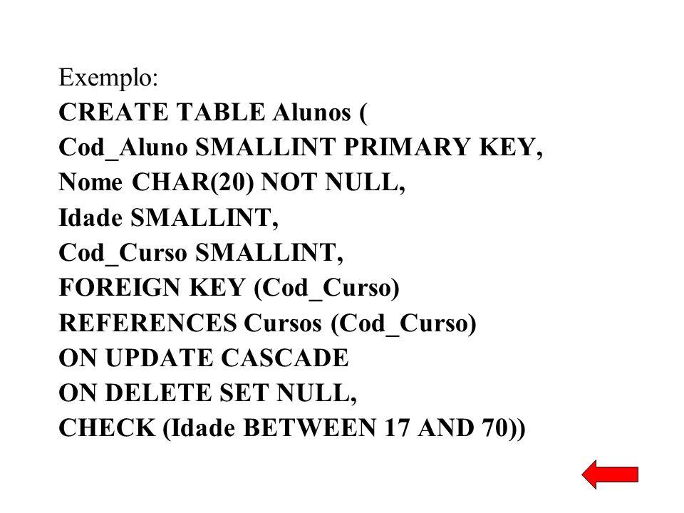 Exemplo: CREATE TABLE Alunos ( Cod_Aluno SMALLINT PRIMARY KEY, Nome CHAR(20) NOT NULL, Idade SMALLINT, Cod_Curso SMALLINT, FOREIGN KEY (Cod_Curso) REF