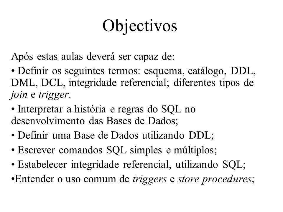 Objectivos Após estas aulas deverá ser capaz de: Definir os seguintes termos: esquema, catálogo, DDL, DML, DCL, integridade referencial; diferentes ti