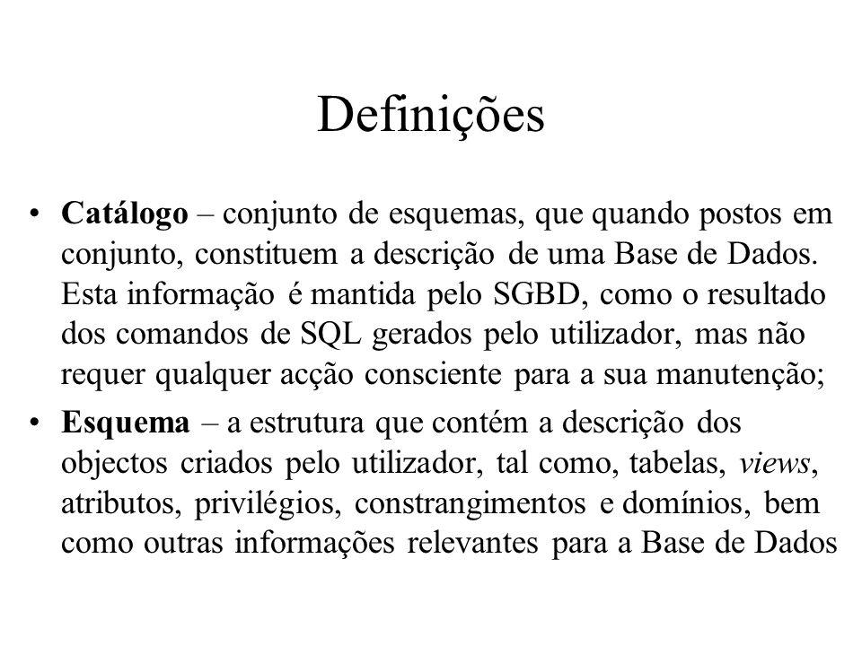 Definições Catálogo – conjunto de esquemas, que quando postos em conjunto, constituem a descrição de uma Base de Dados. Esta informação é mantida pelo