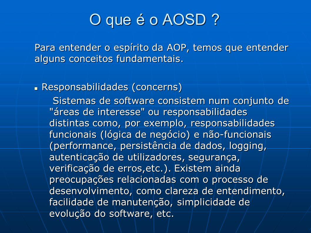 O que é o AOSD . Para entender o espírito da AOP, temos que entender alguns conceitos fundamentais.