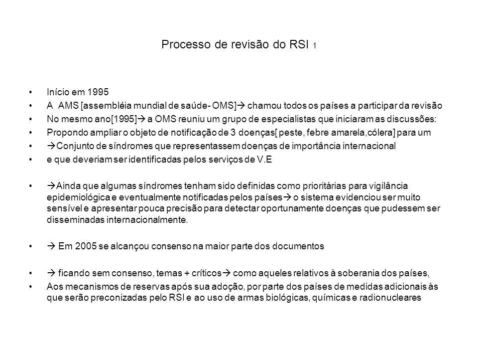 Processo de revisão do RSI 1 Início em 1995 A AMS [assembléia mundial de saúde- OMS] chamou todos os países a participar da revisão No mesmo ano[1995]