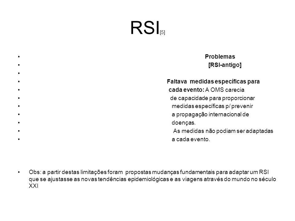 RSI [5] Problemas [RSI-antigo] Faltava medidas específicas para cada evento: A OMS carecia de capacidade para proporcionar medidas específicas p/ prev