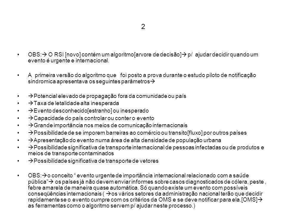 2 OBS: O RSI [novo] contém um algoritmo[arvore de decisão] p/ ajudar decidir quando um evento é urgente e internacional. A primeira versão do algoritm