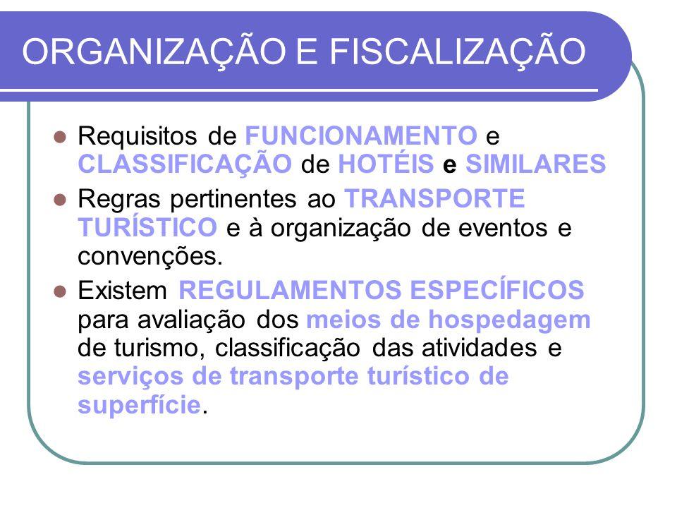 ORGANIZAÇÃO E FISCALIZAÇÃO Requisitos de FUNCIONAMENTO e CLASSIFICAÇÃO de HOTÉIS e SIMILARES Regras pertinentes ao TRANSPORTE TURÍSTICO e à organizaçã