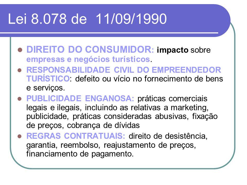 Lei 8.078 de 11/09/1990 DIREITO DO CONSUMIDOR : impacto sobre empresas e negócios turísticos. RESPONSABILIDADE CIVIL DO EMPREENDEDOR TURÍSTICO: defeit
