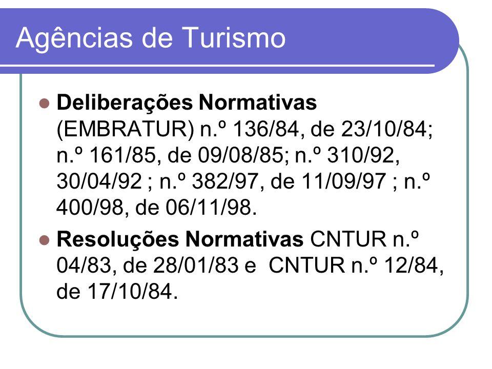 Agências de Turismo Deliberações Normativas (EMBRATUR) n.º 136/84, de 23/10/84; n.º 161/85, de 09/08/85; n.º 310/92, 30/04/92 ; n.º 382/97, de 11/09/9