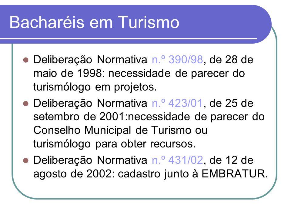 Bacharéis em Turismo Deliberação Normativa n.º 390/98, de 28 de maio de 1998: necessidade de parecer do turismólogo em projetos. Deliberação Normativa