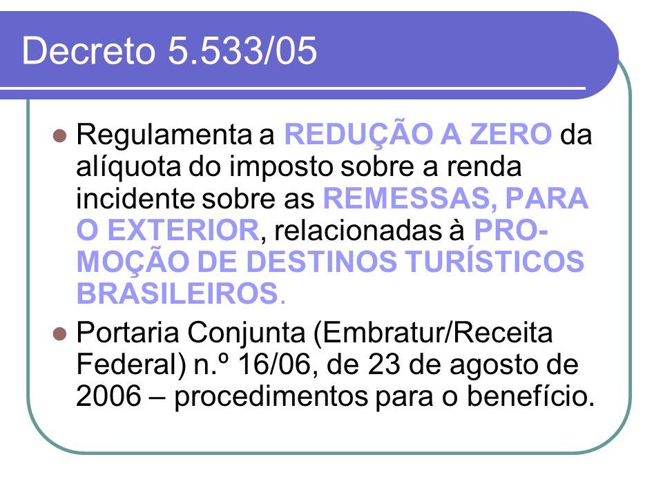 Decreto 5.533/05 Regulamenta a REDUÇÃO A ZERO da alíquota do imposto sobre a renda incidente sobre as REMESSAS, PARA O EXTERIOR, relacionadas à PRO- M