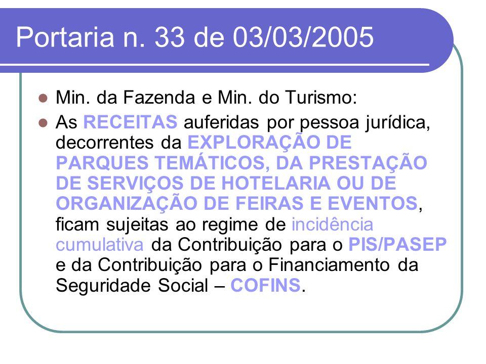 Portaria n. 33 de 03/03/2005 Min. da Fazenda e Min. do Turismo: As RECEITAS auferidas por pessoa jurídica, decorrentes da EXPLORAÇÃO DE PARQUES TEMÁTI