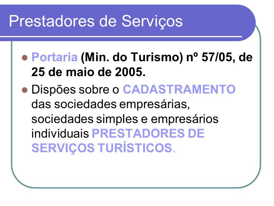 Prestadores de Serviços Portaria (Min. do Turismo) nº 57/05, de 25 de maio de 2005. Dispões sobre o CADASTRAMENTO das sociedades empresárias, sociedad