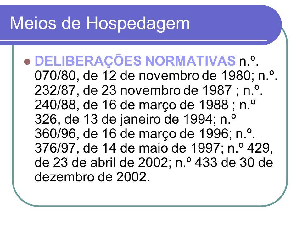 Meios de Hospedagem DELIBERAÇÕES NORMATIVAS n.º. 070/80, de 12 de novembro de 1980; n.º. 232/87, de 23 novembro de 1987 ; n.º. 240/88, de 16 de março