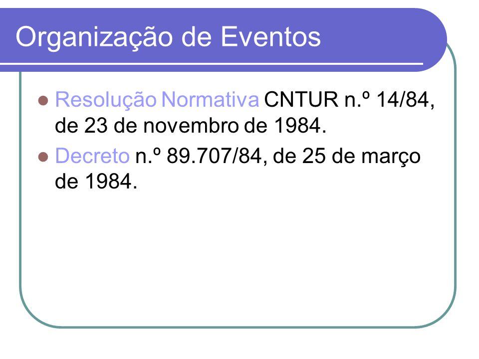 Organização de Eventos Resolução Normativa CNTUR n.º 14/84, de 23 de novembro de 1984. Decreto n.º 89.707/84, de 25 de março de 1984.