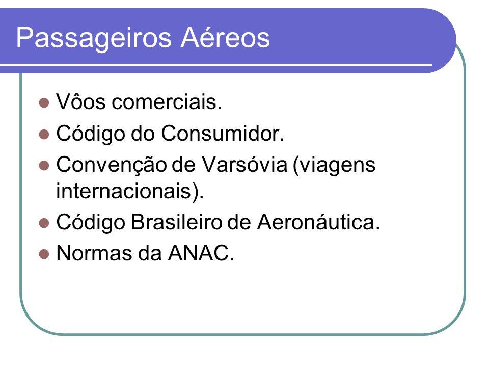 Passageiros Aéreos Vôos comerciais. Código do Consumidor. Convenção de Varsóvia (viagens internacionais). Código Brasileiro de Aeronáutica. Normas da
