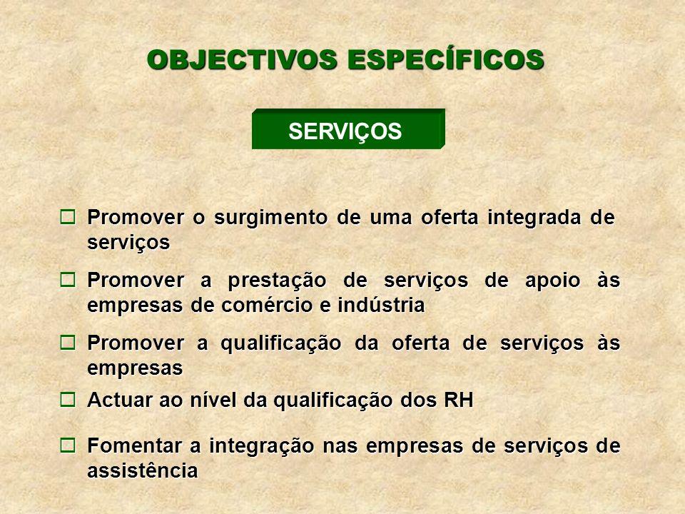 ¨Promover o surgimento de uma oferta integrada de serviços ¨Promover a prestação de serviços de apoio às empresas de comércio e indústria ¨Promover a