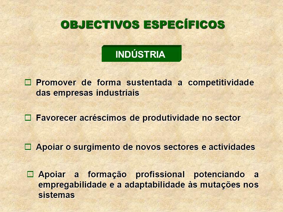 ¨Promover de forma sustentada a competitividade das empresas industriais ¨Favorecer acréscimos de produtividade no sector ¨Apoiar o surgimento de novos sectores e actividades INDÚSTRIA OBJECTIVOS ESPECÍFICOS ¨Apoiar a formação profissional potenciando a empregabilidade e a adaptabilidade às mutações nos sistemas