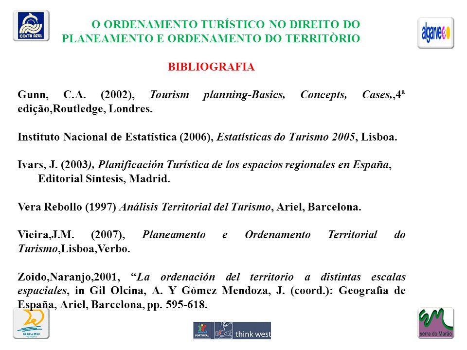 O ORDENAMENTO TURÍSTICO NO DIREITO DO PLANEAMENTO E ORDENAMENTO DO TERRITÒRIO BIBLIOGRAFIA Gunn, C.A. (2002), Tourism planning-Basics, Concepts, Cases