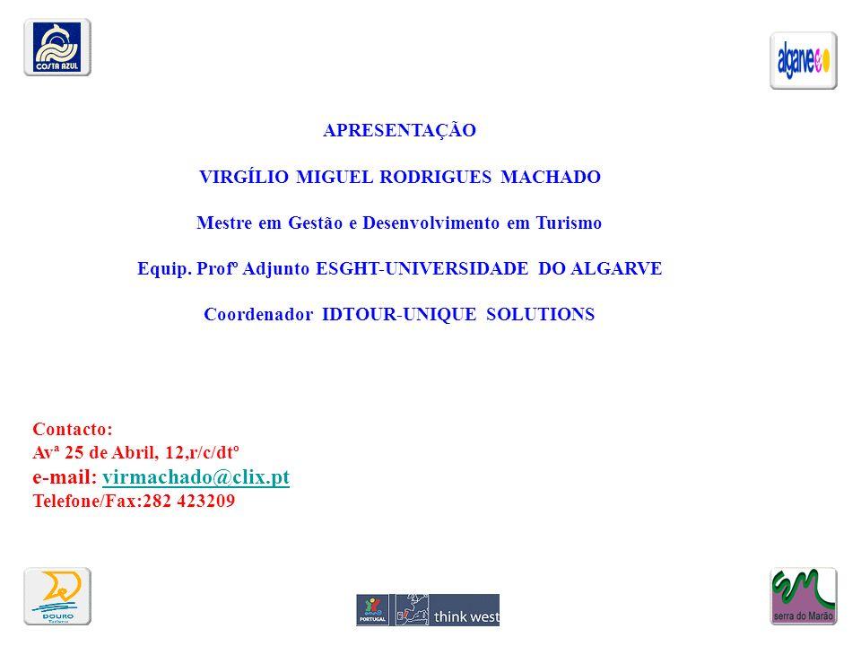 APRESENTAÇÃO VIRGÍLIO MIGUEL RODRIGUES MACHADO Mestre em Gestão e Desenvolvimento em Turismo Equip. Profº Adjunto ESGHT-UNIVERSIDADE DO ALGARVE Coorde