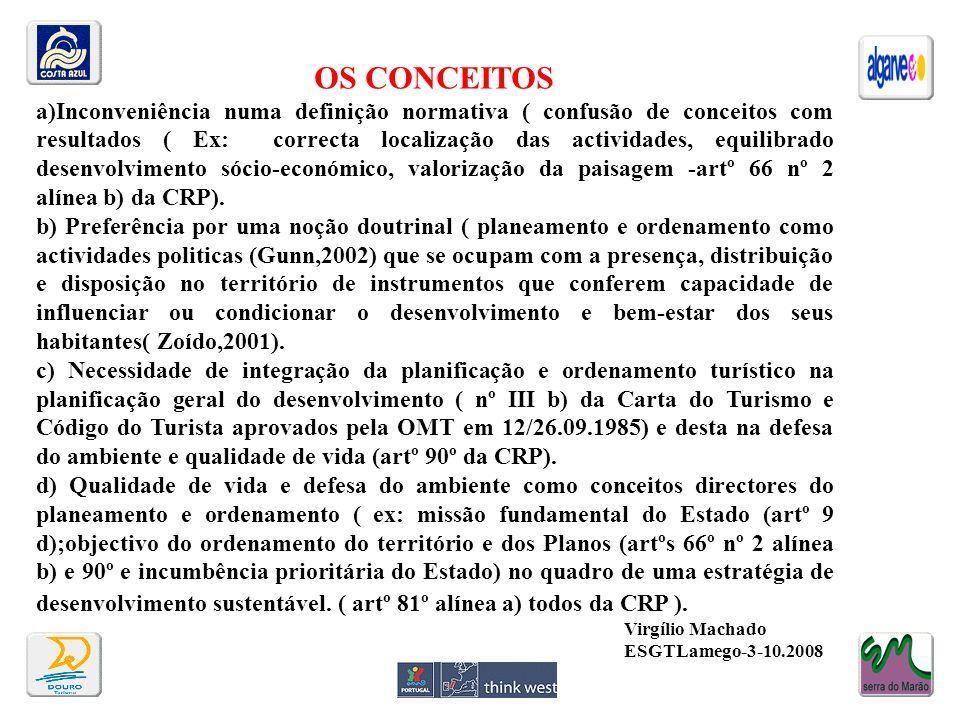 OS CONCEITOS a)Inconveniência numa definição normativa ( confusão de conceitos com resultados ( Ex: correcta localização das actividades, equilibrado