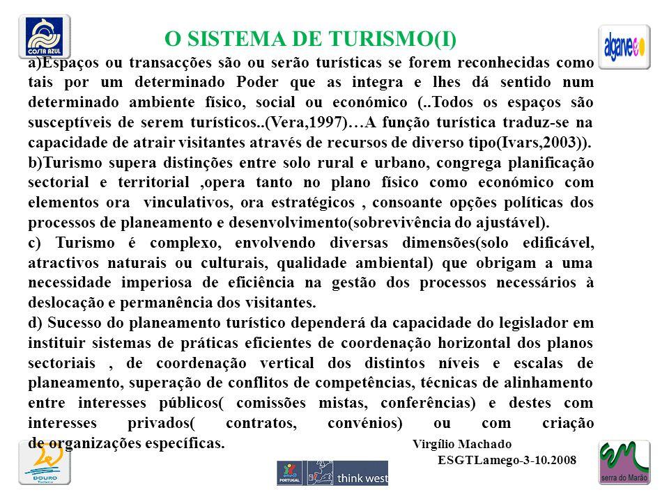 O SISTEMA DE TURISMO(I) a)Espaços ou transacções são ou serão turísticas se forem reconhecidas como tais por um determinado Poder que as integra e lhe