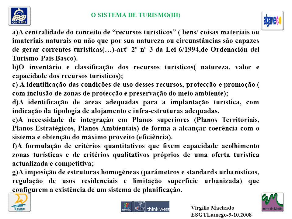 O SISTEMA DE TURISMO(III) a)A centralidade do conceito de recursos turísticos ( bens/ coisas materiais ou imateriais naturais ou não que por sua natur