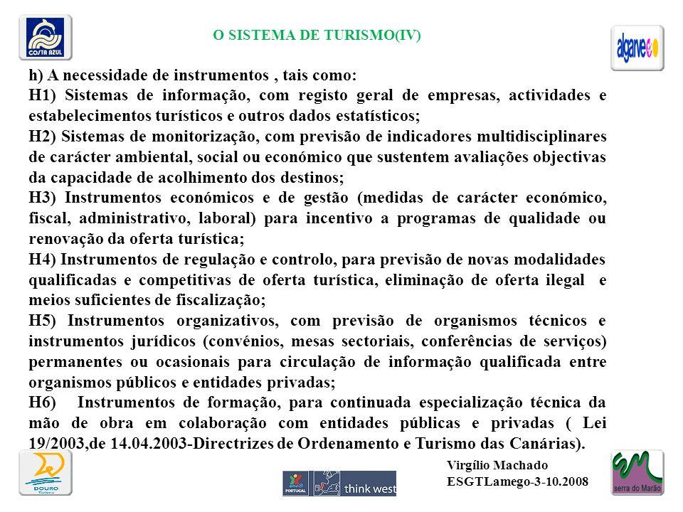 O SISTEMA DE TURISMO(IV) h) A necessidade de instrumentos, tais como: H1) Sistemas de informação, com registo geral de empresas, actividades e estabel