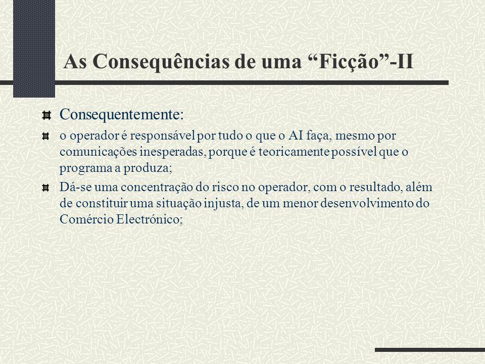 As Consequências de uma Ficção-II Consequentemente: o operador é responsável por tudo o que o AI faça, mesmo por comunicações inesperadas, porque é teoricamente possível que o programa a produza; Dá-se uma concentração do risco no operador, com o resultado, além de constituir uma situação injusta, de um menor desenvolvimento do Comércio Electrónico;