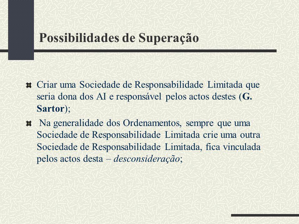 Possibilidades de Superação Criar uma Sociedade de Responsabilidade Limitada que seria dona dos AI e responsável pelos actos destes (G.