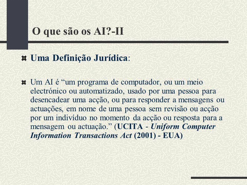 O que são os AI?-II Uma Definição Jurídica: Um AI é um programa de computador, ou um meio electrónico ou automatizado, usado por uma pessoa para desencadear uma acção, ou para responder a mensagens ou actuações, em nome de uma pessoa sem revisão ou acção por um indivíduo no momento da acção ou resposta para a mensagem ou actuação.