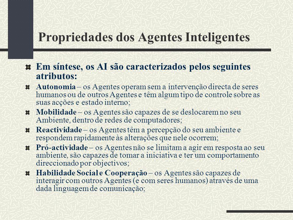 Propriedades dos Agentes Inteligentes Em síntese, os AI são caracterizados pelos seguintes atributos: Autonomia – os Agentes operam sem a intervenção directa de seres humanos ou de outros Agentes e têm algum tipo de controle sobre as suas acções e estado interno; Mobilidade – os Agentes são capazes de se deslocarem no seu Ambiente, dentro de redes de computadores; Reactividade – os Agentes têm a percepção do seu ambiente e respondem rapidamente às alterações que nele ocorrem; Pró-actividade – os Agentes não se limitam a agir em resposta ao seu ambiente, são capazes de tomar a iniciativa e ter um comportamento direccionado por objectivos; Habilidade Social e Cooperação – os Agentes são capazes de interagir com outros Agentes (e com seres humanos) através de uma dada linguagem de comunicação;