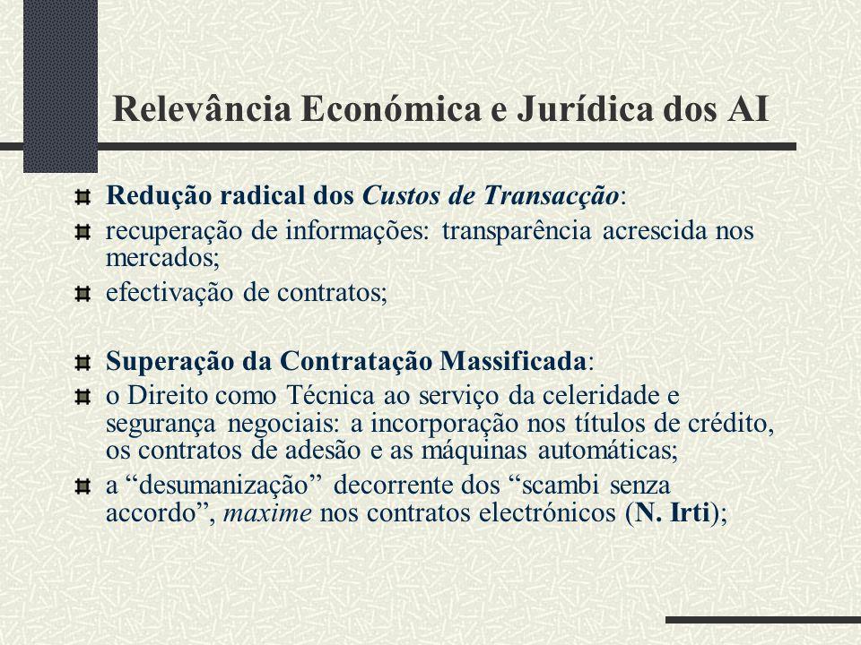 Relevância Económica e Jurídica dos AI-II com a intervenção de AI, todas as cláusulas contratuais passam a poder ser negociadas individualmente os regimes de protecção dos consumidores aplicáveis aos contratos massificados não serão aplicáveis, v.g.: a Directiva 93/13/CEE, do Conselho, de 5 de Abril de 1993, relativa às cláusulas abusivas nos contratos celebrados com os consumidores; o Art.º 54.º do CDC - Código de Defesa do Consumidor - Lei nº 8.078, de 11 de Setembro de 1990.