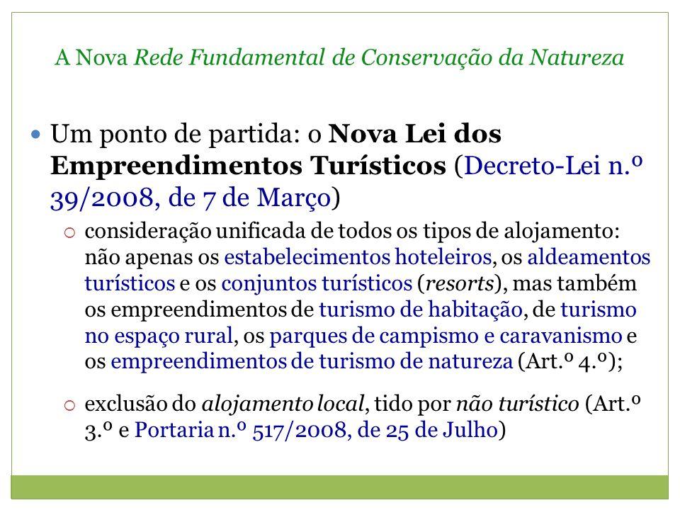 A Nova Rede Fundamental de Conservação da Natureza Para os nossos objectivos, interessam-nos, essencialmente: os empreendimentos de turismo de habitação e de turismo no espaço rural (Art.ºs 17.º e 18.º e Portaria n.º 937/2008, de 20 de Agosto) empreendimentos de turismo de natureza (Art.º 20.º e, ainda, o Decreto-Lei n.º 47/99, de 16 de Fevereiro, tal como modificado pelo Decreto-Lei n.º 56/2002, de 11 de Março)